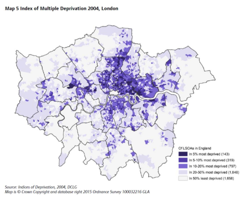 Map 5 Index of Multiple Deprivation 2004, London