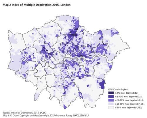 Map 2 Index of Multiple Deprivation 2015, London